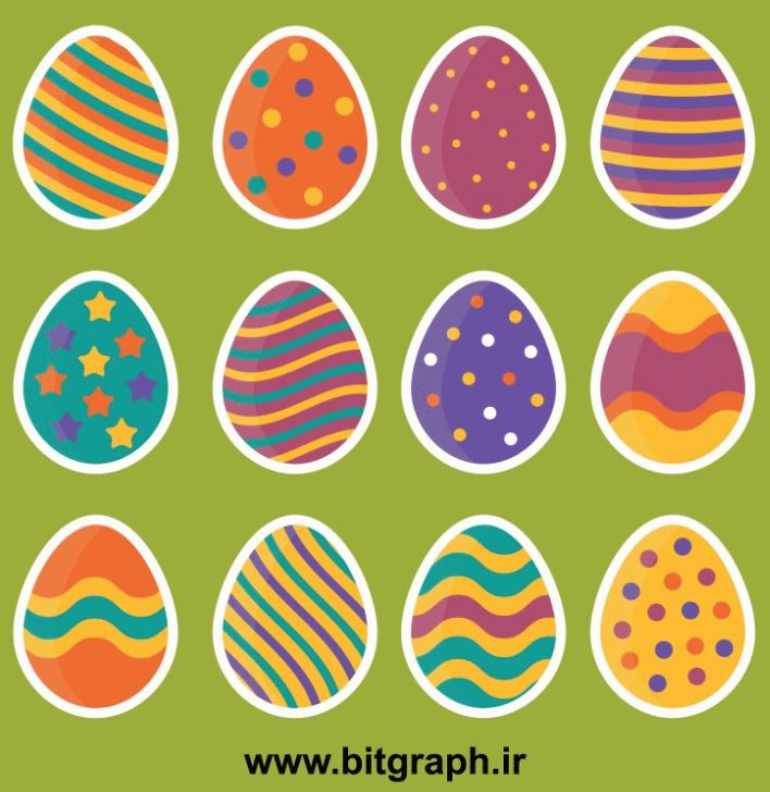 وکتور تخم مرغ های تزئینی عید نوروز