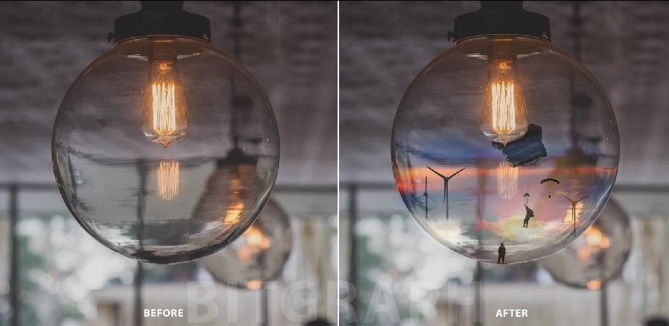 آموزش دستکاری روی عکس چترباز و لامپ در فتوشاپ