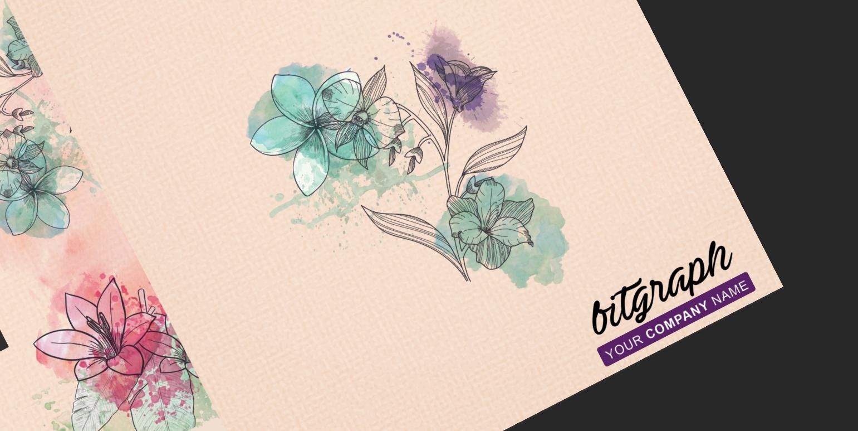 فایل لایه باز جلد دفتر طرح گل و پرنده