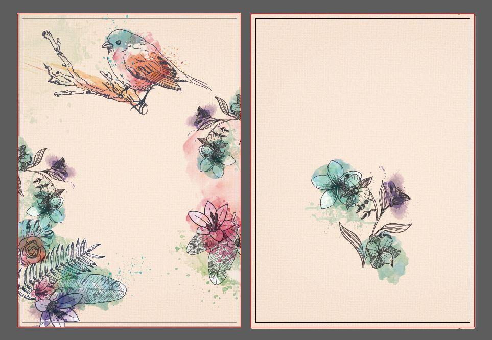 وکتور طرح جلد دفتر گل و پرنده