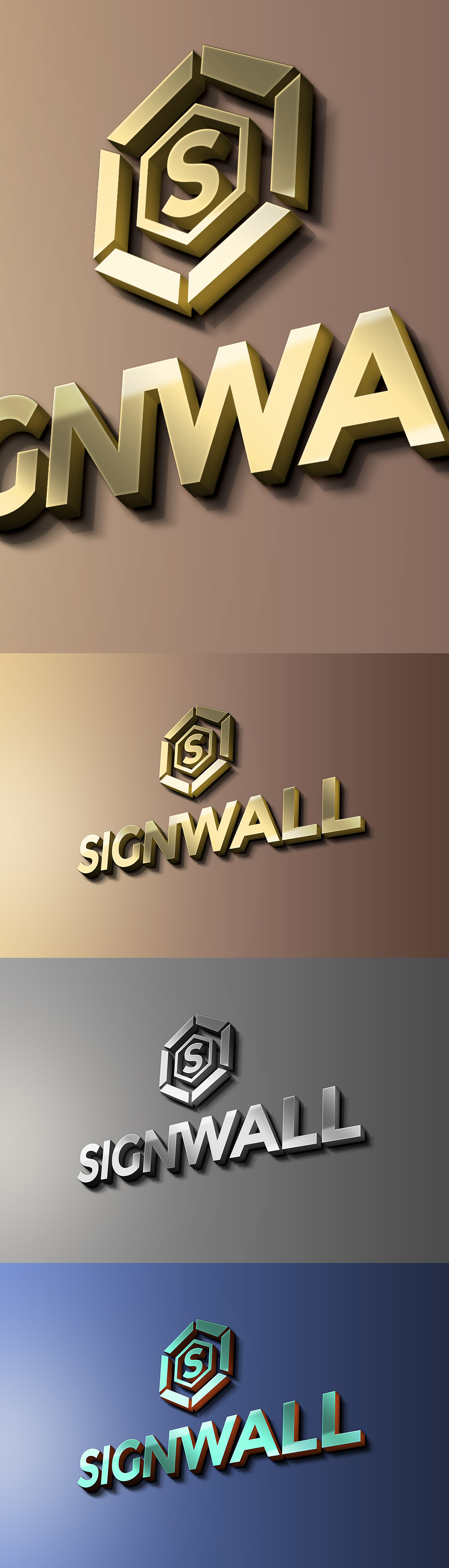 دانلود موکاپ لوگو سه بعدی نقره ای و طلایی روی دیوار