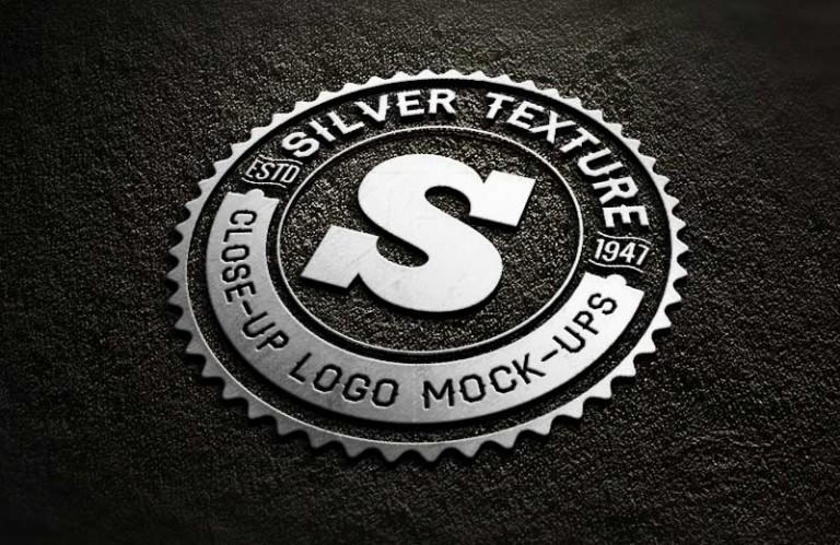 دانلود موکاپ لوگوی فلزی نقره ای