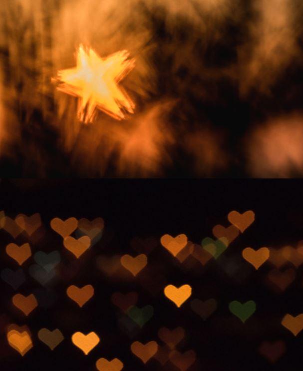 تکنیک عکاسی برای تولید بوکه هایی به شکل ستاره و قلب
