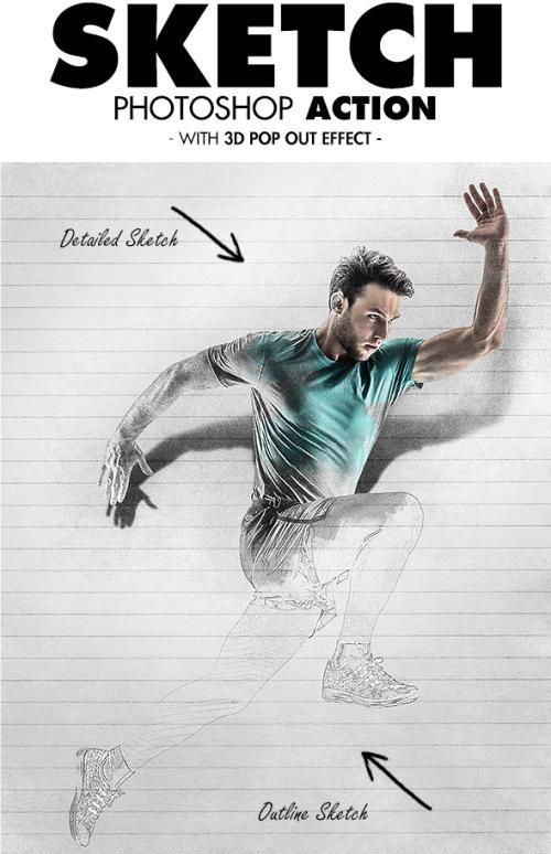 اکشن فتوشاپ نقاشی جالب به همراه افکت سه بعدی برجسته