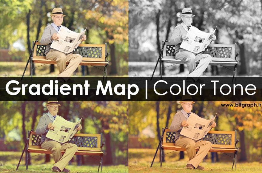 نحوه Color Tone با استفاده از ابزار Gradient Map