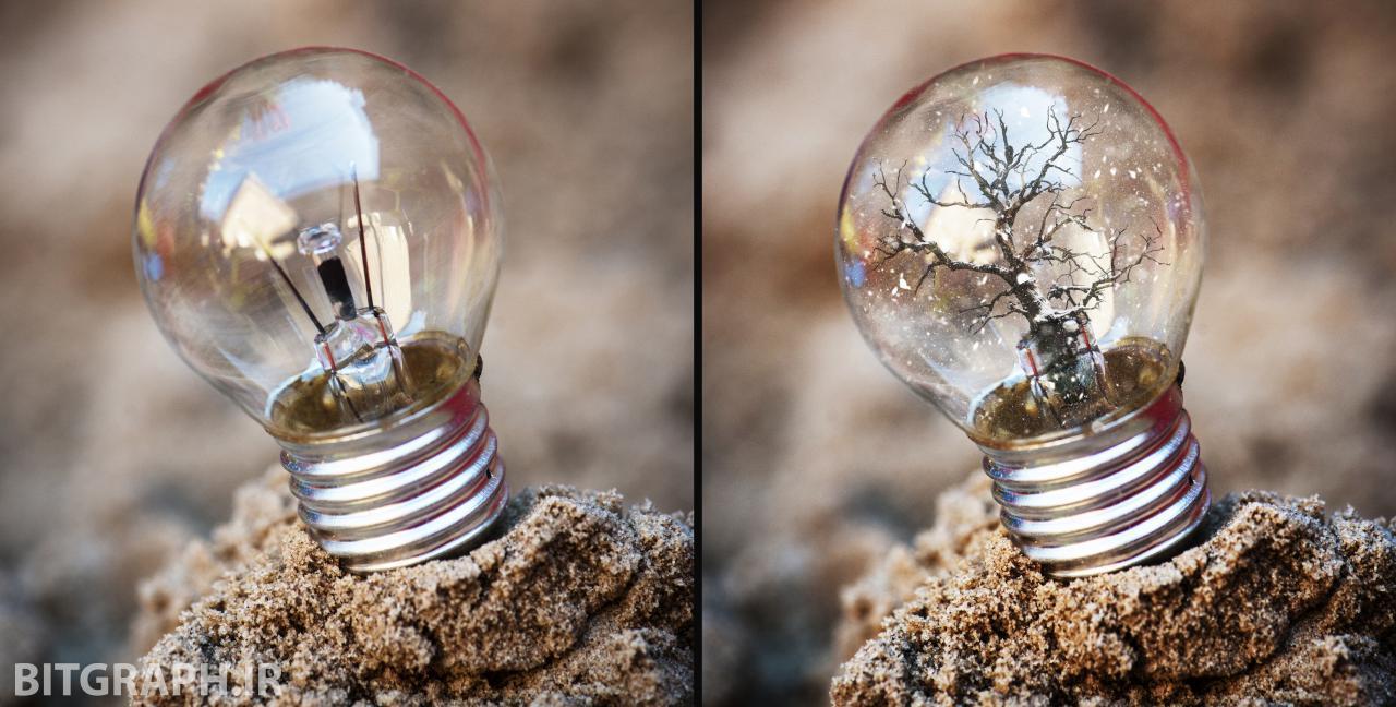 آموزش فوتو مونتاژ لامپ و درخت