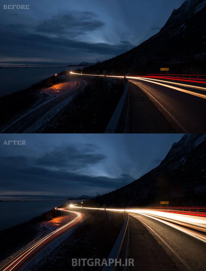 عکاسی Long Exposure جاده ای شلوغ