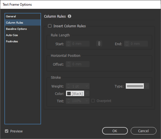 اضافه شدن منوی Column Rules در پنل Text Frame