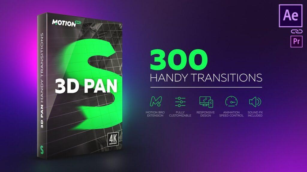 پریست 3D Pan Transitions در پکیج موشن برو