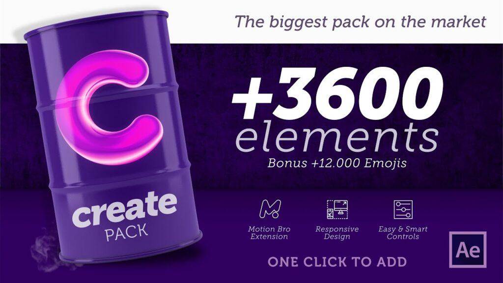 پریست Create Pack 3600+ Elements در پکیج موشن برو
