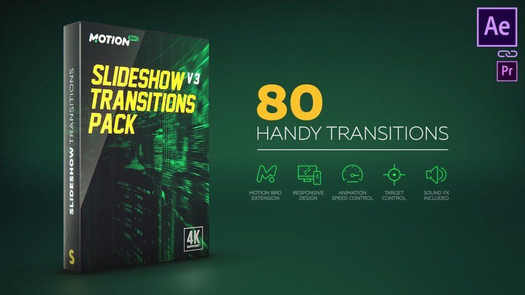 پریست Slideshow Transitions Pack در پکیج موشن برو