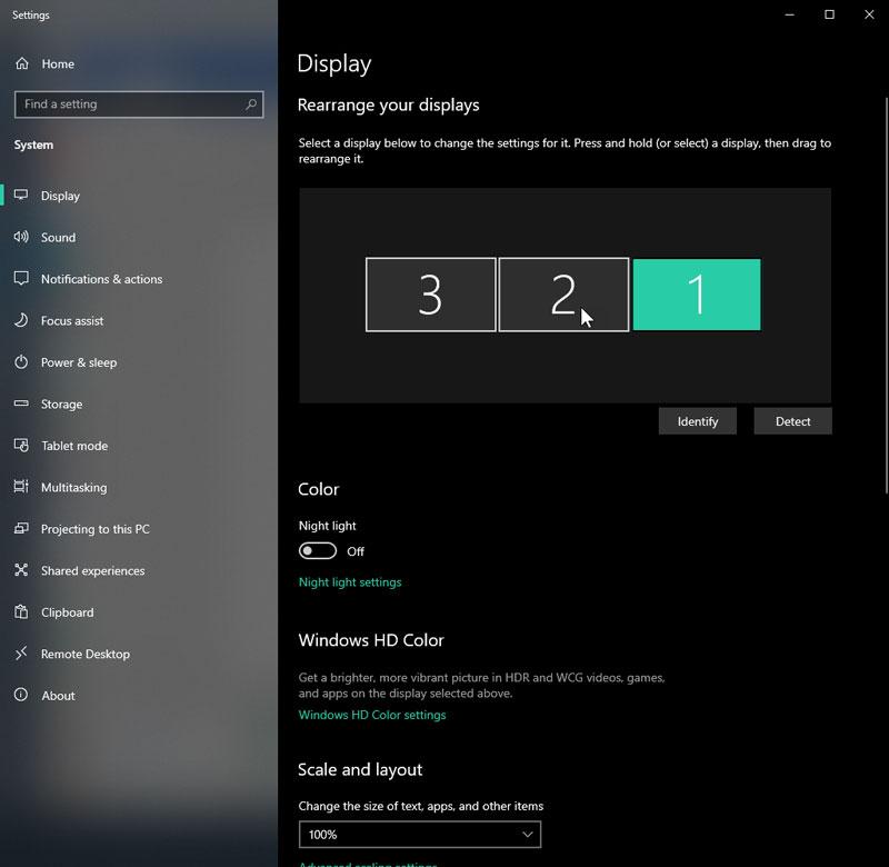 تنظیمات Display setting در ویندوز
