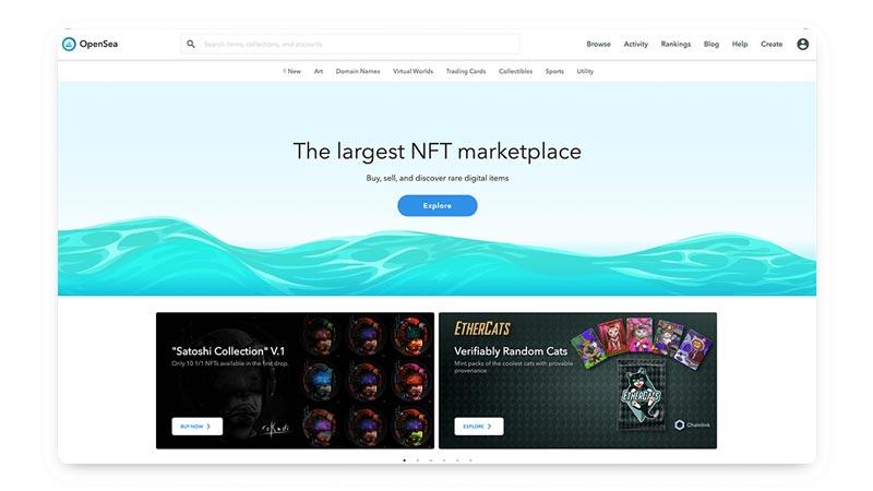 سایت OpenSea یکی از بهترین بازارهای NFT